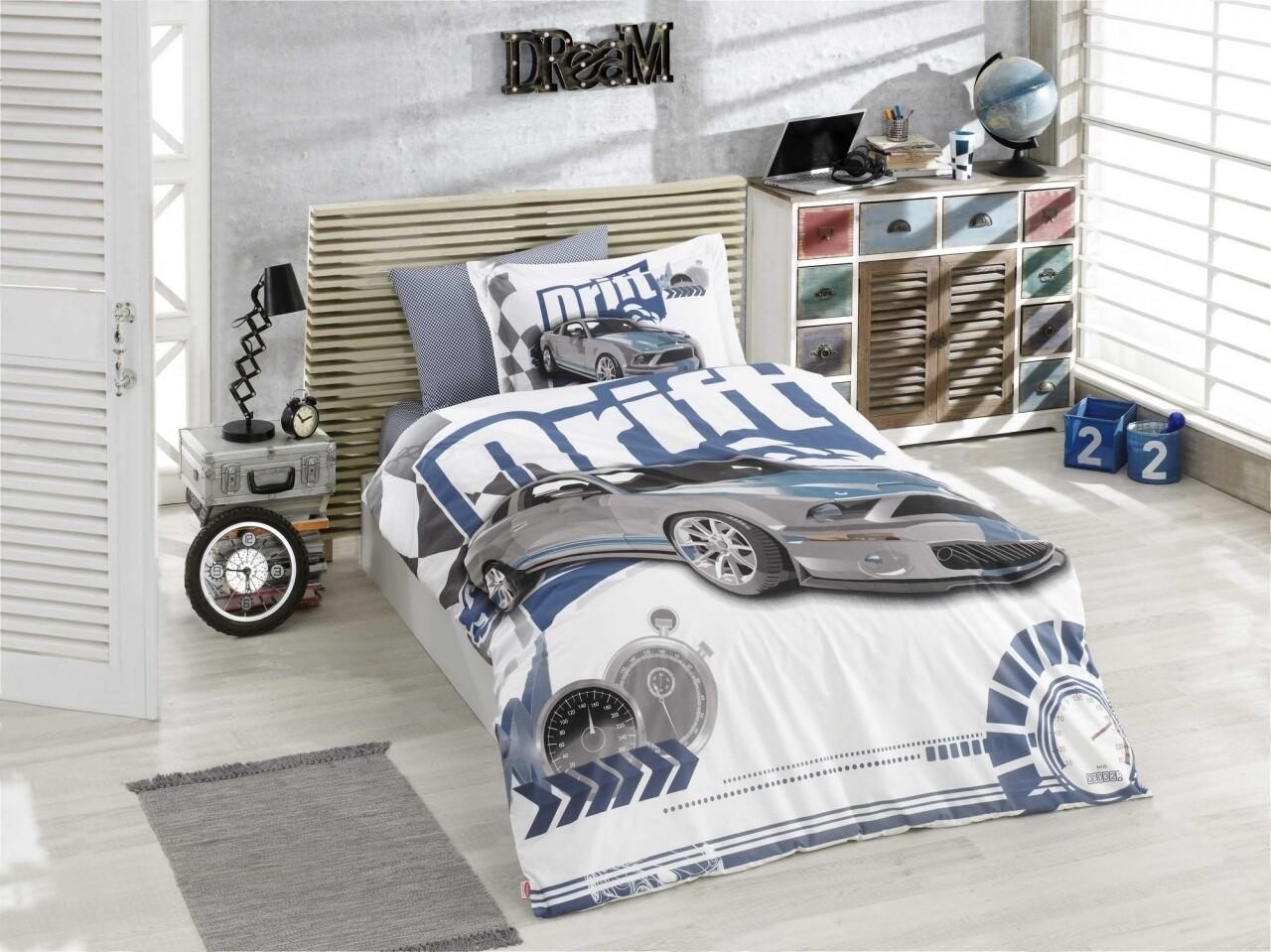 Lenjerie de pat pentru o persoana, 3 piese, 100% bumbac poplin, Hobby, Drift Blue, multicolora