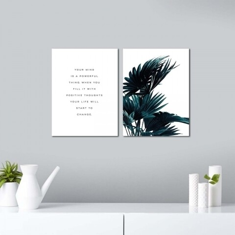Set 2 tablouri decorative, Alpha Wall, Powerful Mind
