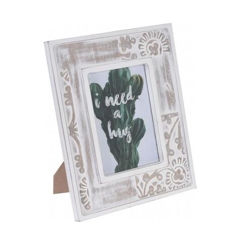 Rama foto Vintage, InArt, 28.5 x 17 x 23.5 cm, lemn, natur/alb