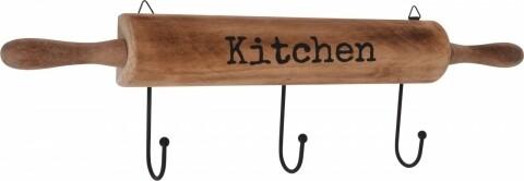 Cuier cu 3 agatatori Kitchen, 50 x 12 x 5 cm, MDF/metal, natur/negru
