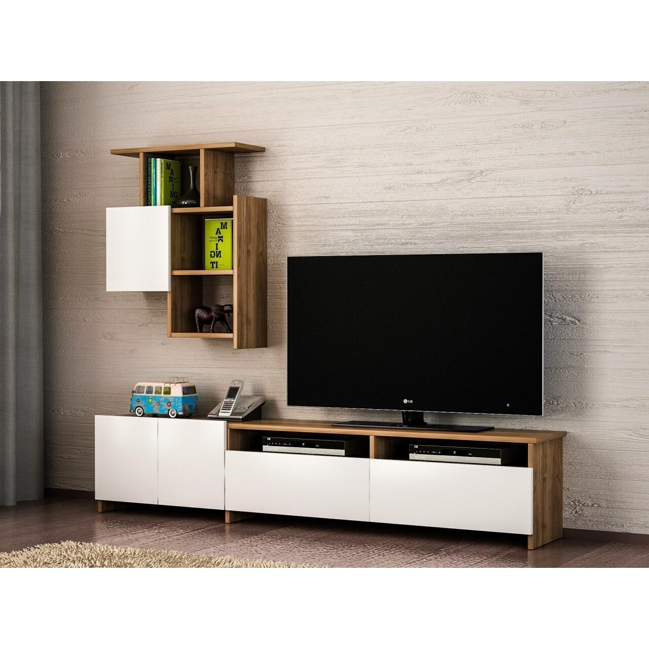 Comoda TV cu raft, Wooden Art, Mariposa Walnut White, 180x37x31.5 cm