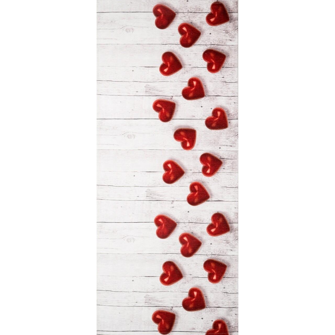 Covor rezistent Webtappeti Cuori Rossi 58x140 cm, bej/rosu