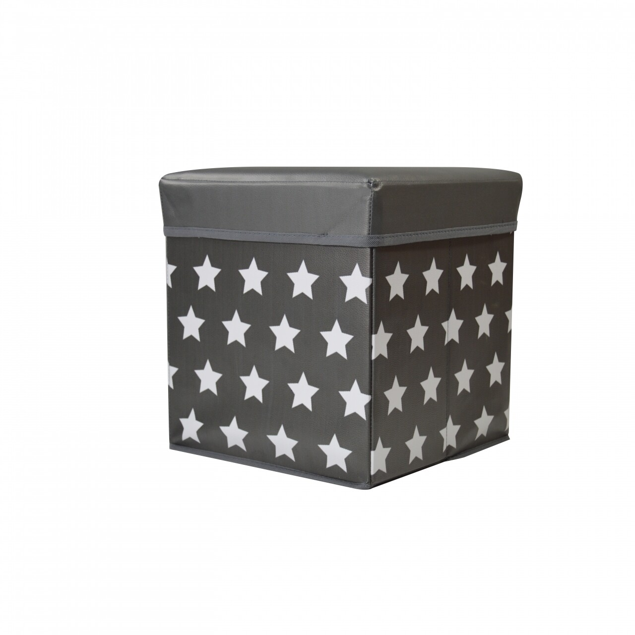 Taburet cu spațiu de depozitare Star, Jocca, 30 x 30 x 30 cm, PVC, gri/alb