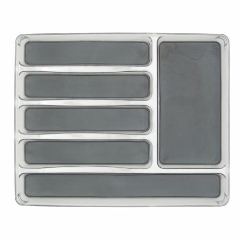 Suport organizare tacamuri cu 6 compartimente Mist, Wenko, 32 x 40 cm, plastic/thermoplastic, gri