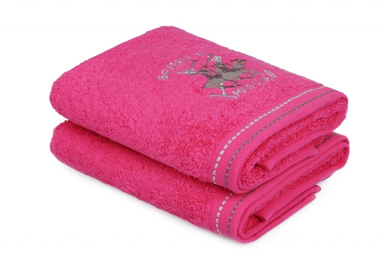 Set 2 prosoape de maini Happy, Beverly Hills Polo Club, 50 x 90 cm, 100% bumbac, Fuchsia 201, roz