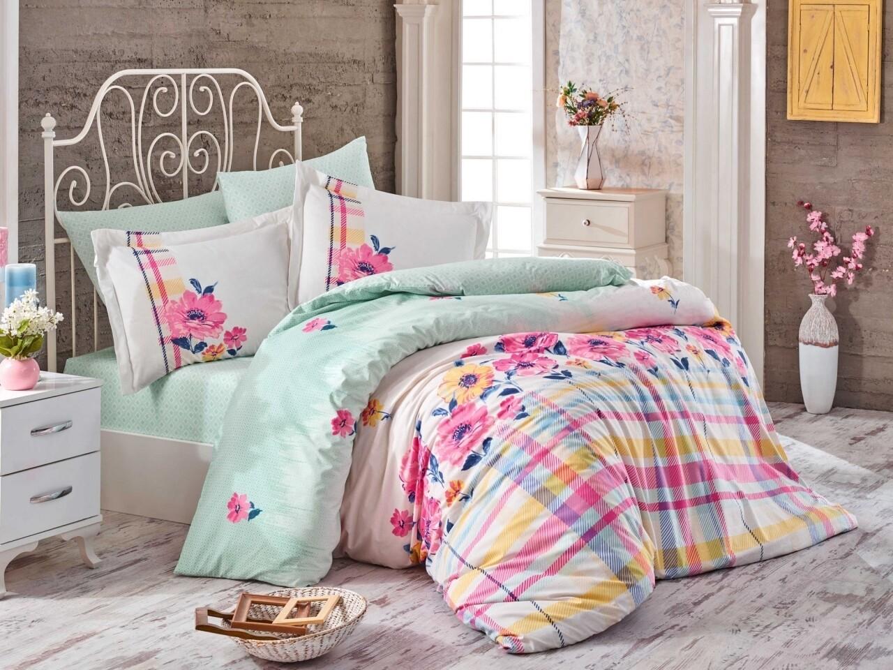 Lenjerie de pat pentru o persoana, 3 piese, 100% bumbac poplin, Hobby, Norma Pink, multicolora