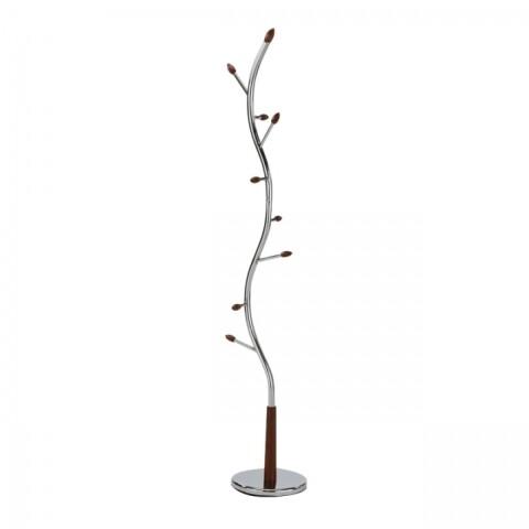 Cuier Zoro, din lemn de nuc si metal cromat, 30x30x190 cm