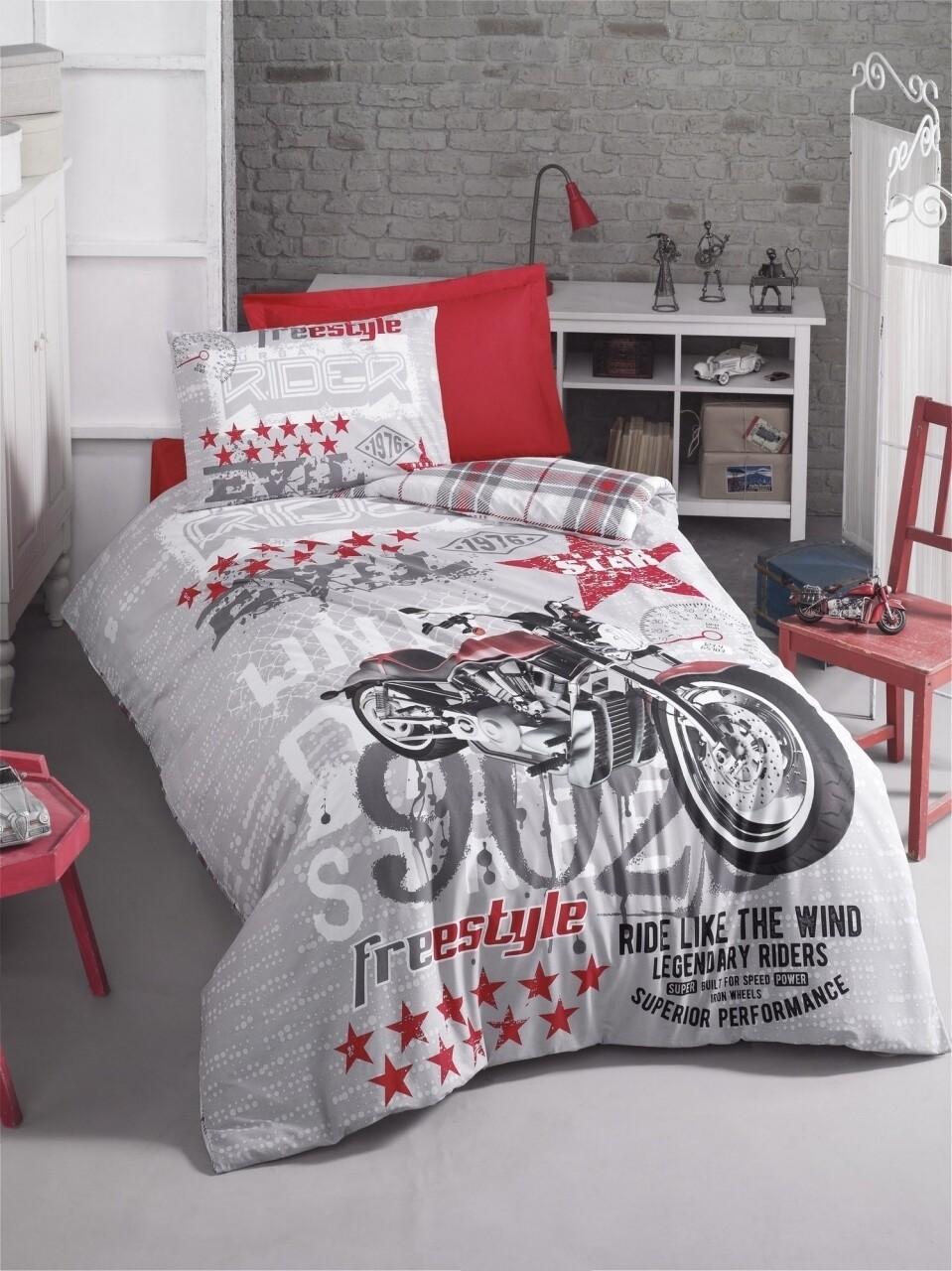 Lenjerie de pat pentru o persoana Freestyle, Cotton Box, 3 piese, 160 x 240 cm, 100% bumbac ranforce, multicolora