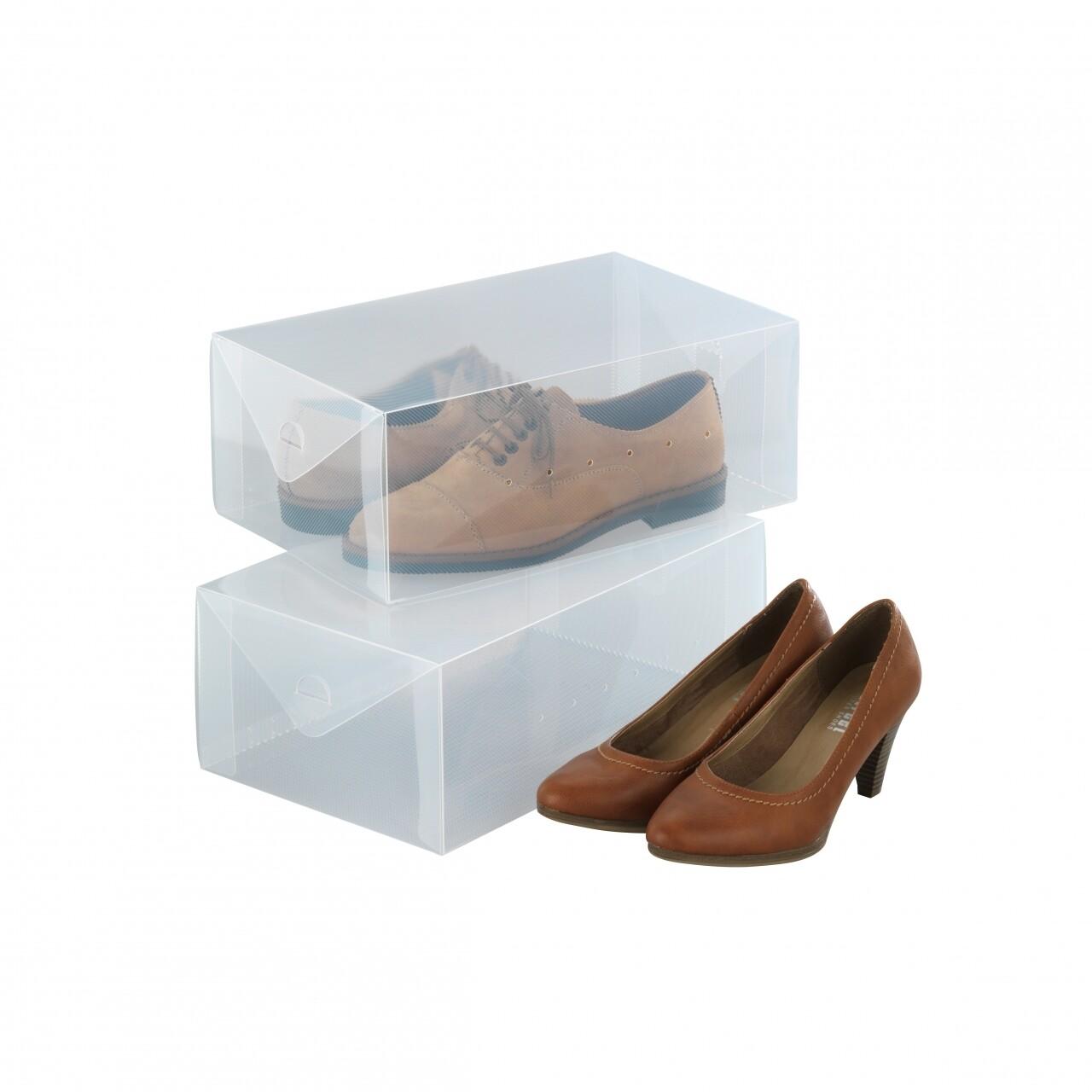 Set 2 cutii pentru depozitare pantofi Wenko, 13 x 21 x 34 cm,  polipropilena, alb