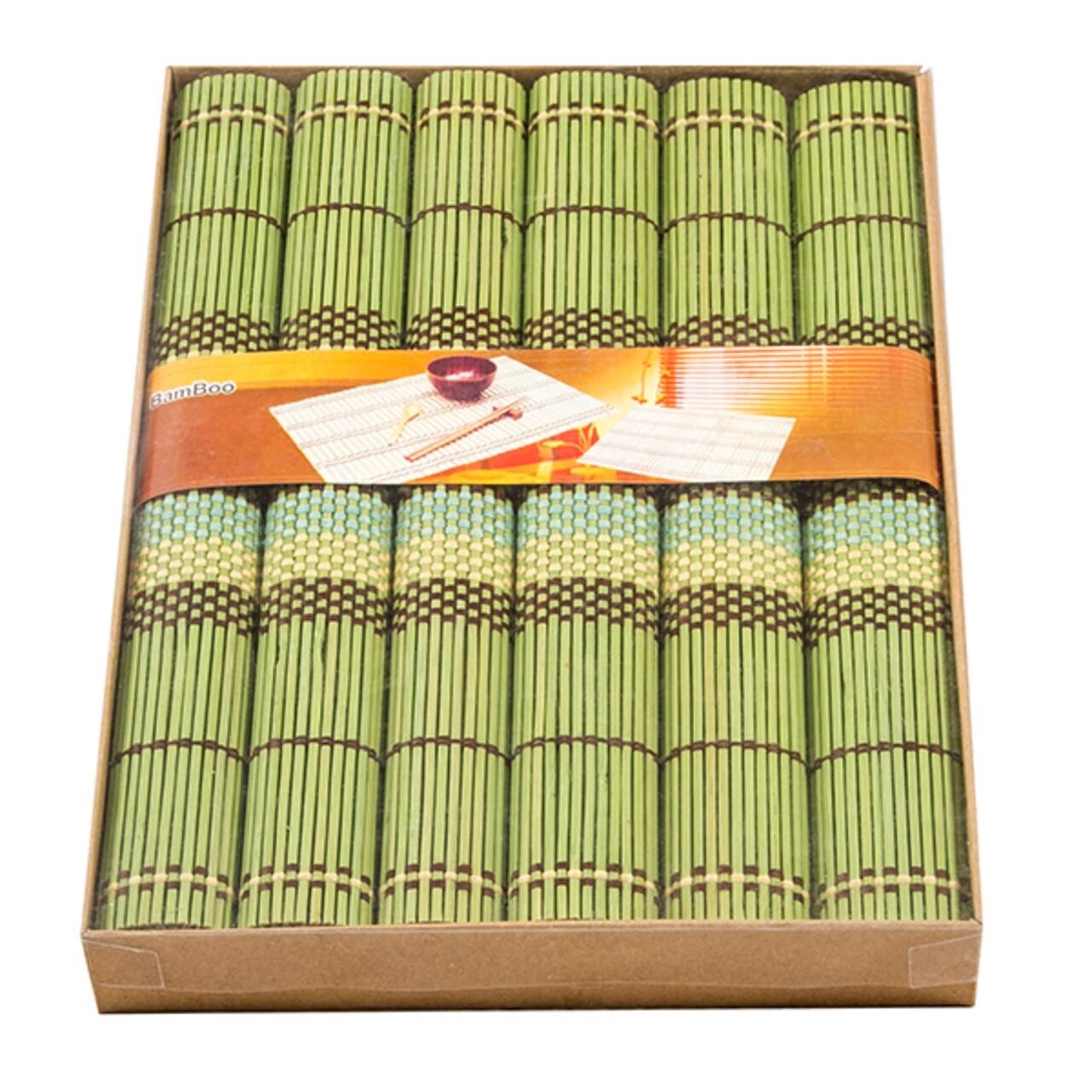 Set 6 suporturi pentru farfurie PRC, bambus, 40 x 35 cm, verde