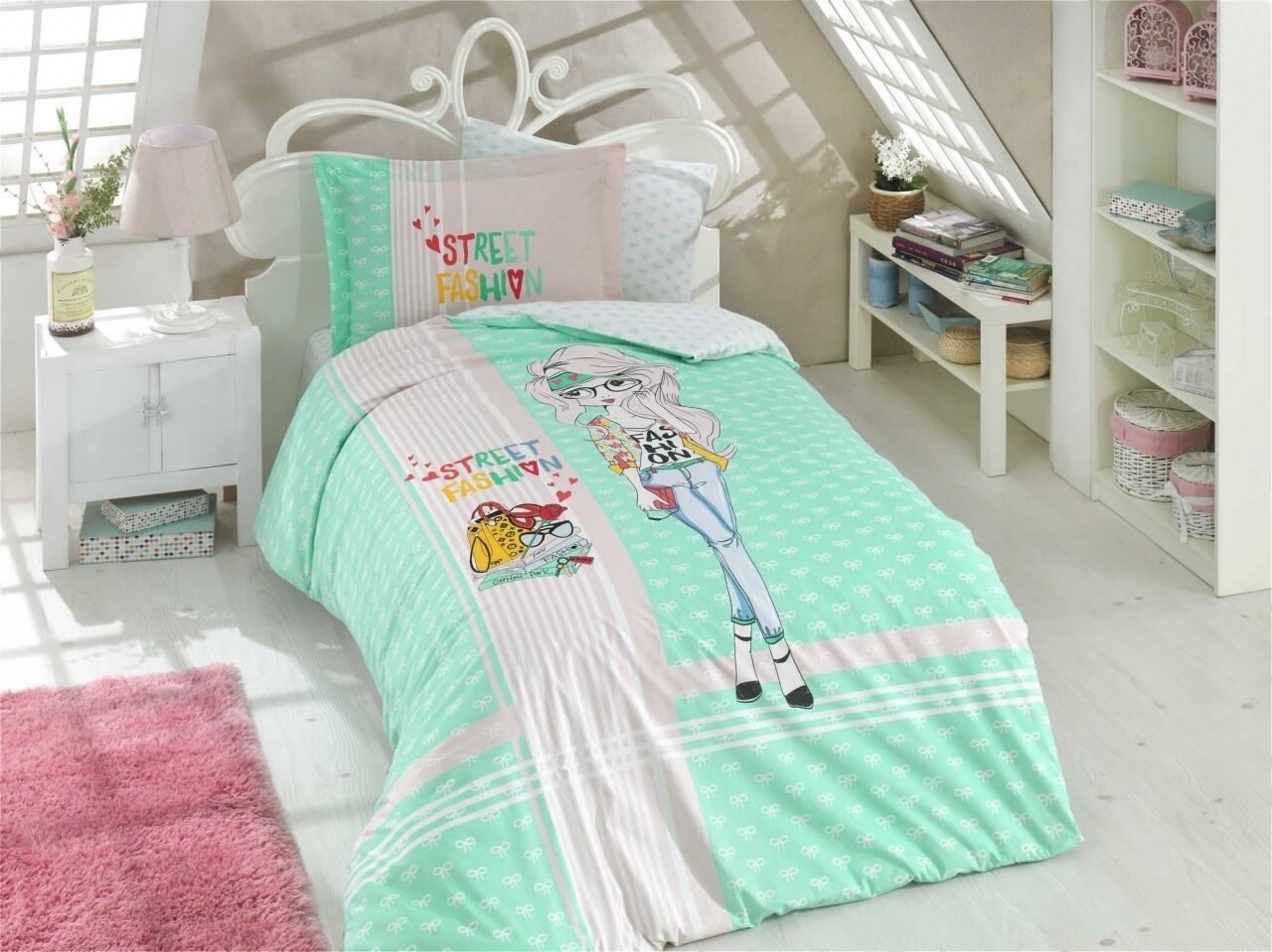 Lenjerie de pat pentru o persoana, 3 piese, 100% bumbac poplin, Hobby, Street Fashion, verde