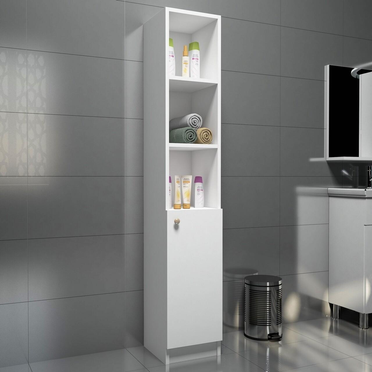 Dulap pentru baie Trend, Puqa Design, 30x30x170 cm, alb