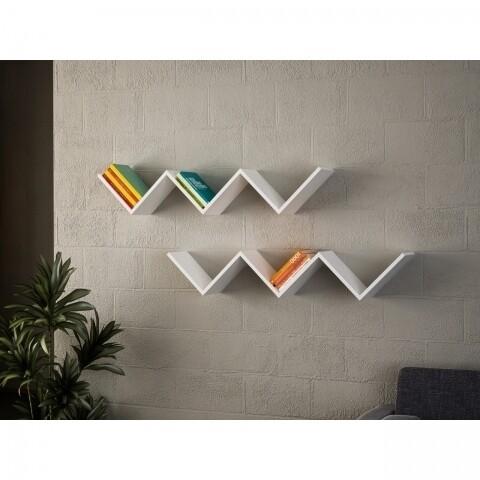 Set 2 rafturi pentru perete, Wooden Art, Zig Zag White, 129x24.5x22 cm