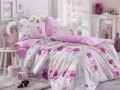 Lenjerie de pat pentru o persoana, 3 piese, 100% bumbac ranforce, Hobby, Matilde, roz