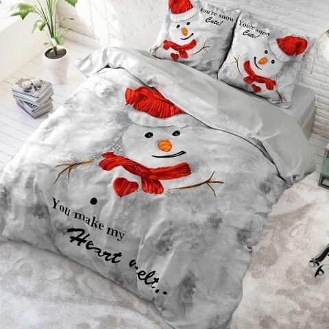 Lenjerie de pat dubla Heart melt White, Dreamhouse, 3 piese, 200x220 cm, 100% bumbac, gri/rosu