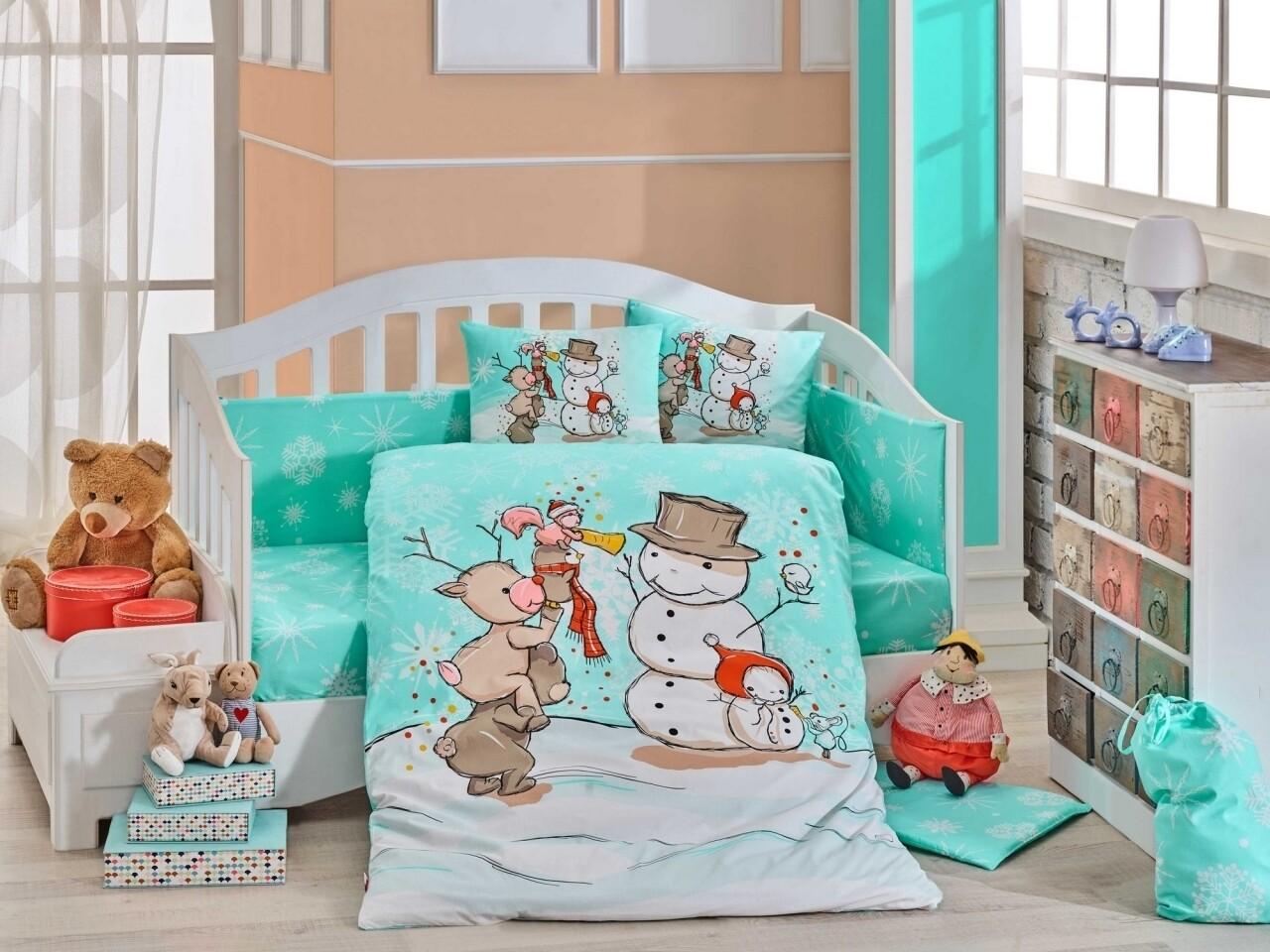 Lenjerie de pat pentru copii, 4 piese, 100% bumbac poplin, Hobby, Snowball, multicolor