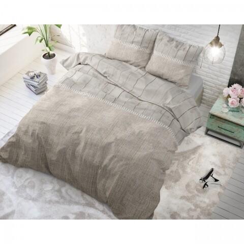 Lenjerie de pat dubla Wood Fabric Taupe, Royal Textile, 3 piese, 200 x 220 cm, 100% bumbac, taupe