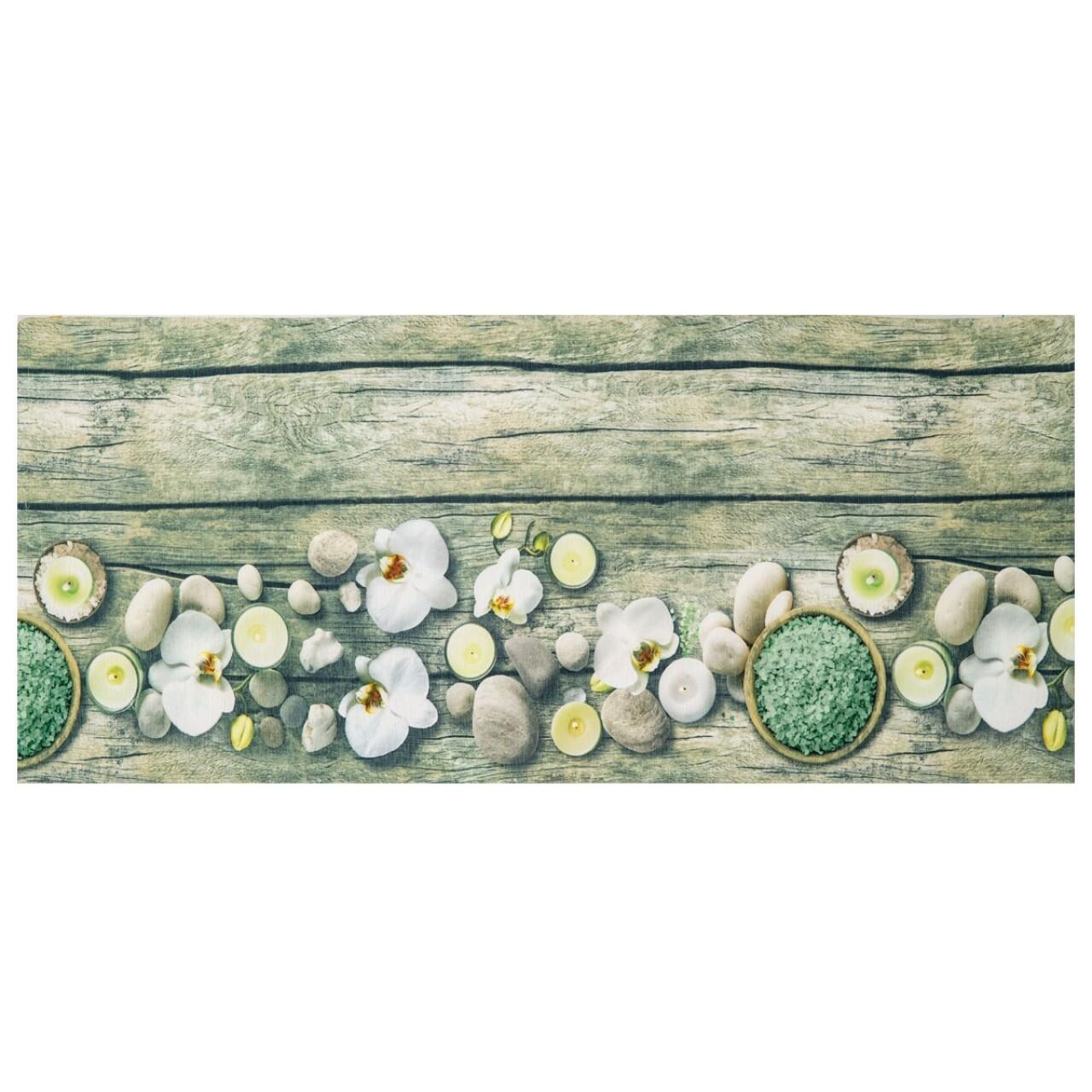 Covor rezistent Webtappeti Orchidea 58 x 115 cm, verde/alb