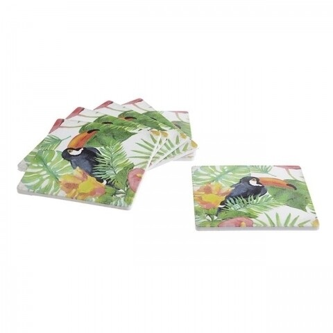 Set 6 suporturi de pahar Tucan, InArt, 10 x 10 x 4 cm, plastic, multicolor