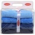 Set 4 prosoape de maini Blue Delight, Hobby,  50 x 90 cm, 100% bumbac, albastru