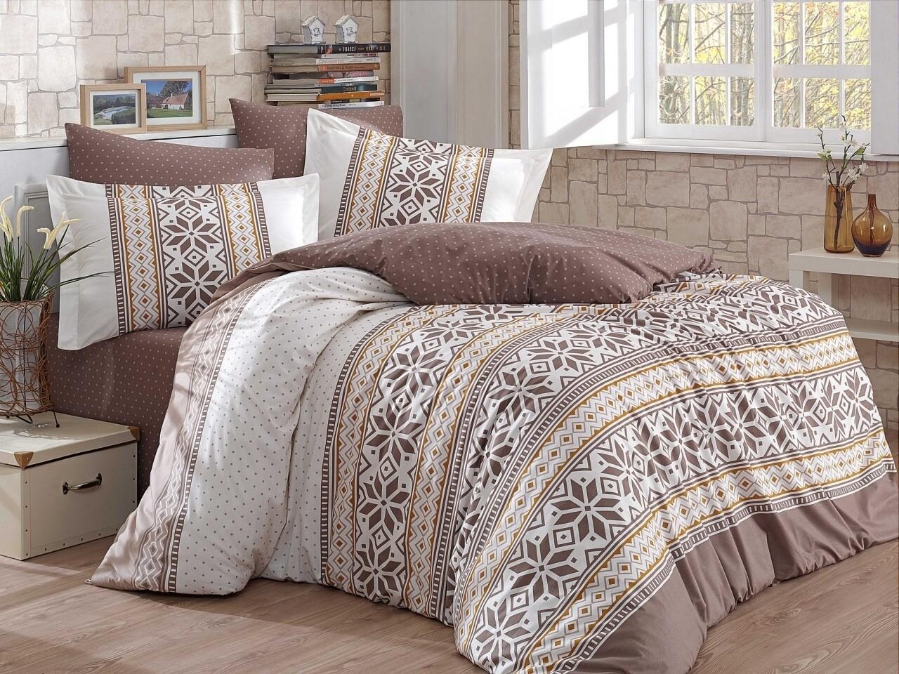 Lenjerie de pat pentru o persoana, 3 piese, 100% bumbac poplin, Hobby, Carla, maro/bej