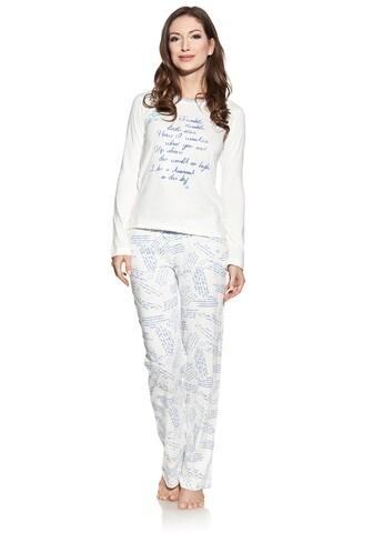 Pijama cu pantaloni lungi dama, Luisa Moretti, 1540, 100% bumbac, albastru pudra, marimea 34/36 - S