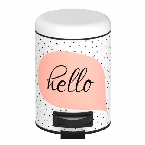 Cos de gunoi cu pedala Hello, Wenko, 3 l, otel inoxidabil/ polipropilena, alb/negru/roz