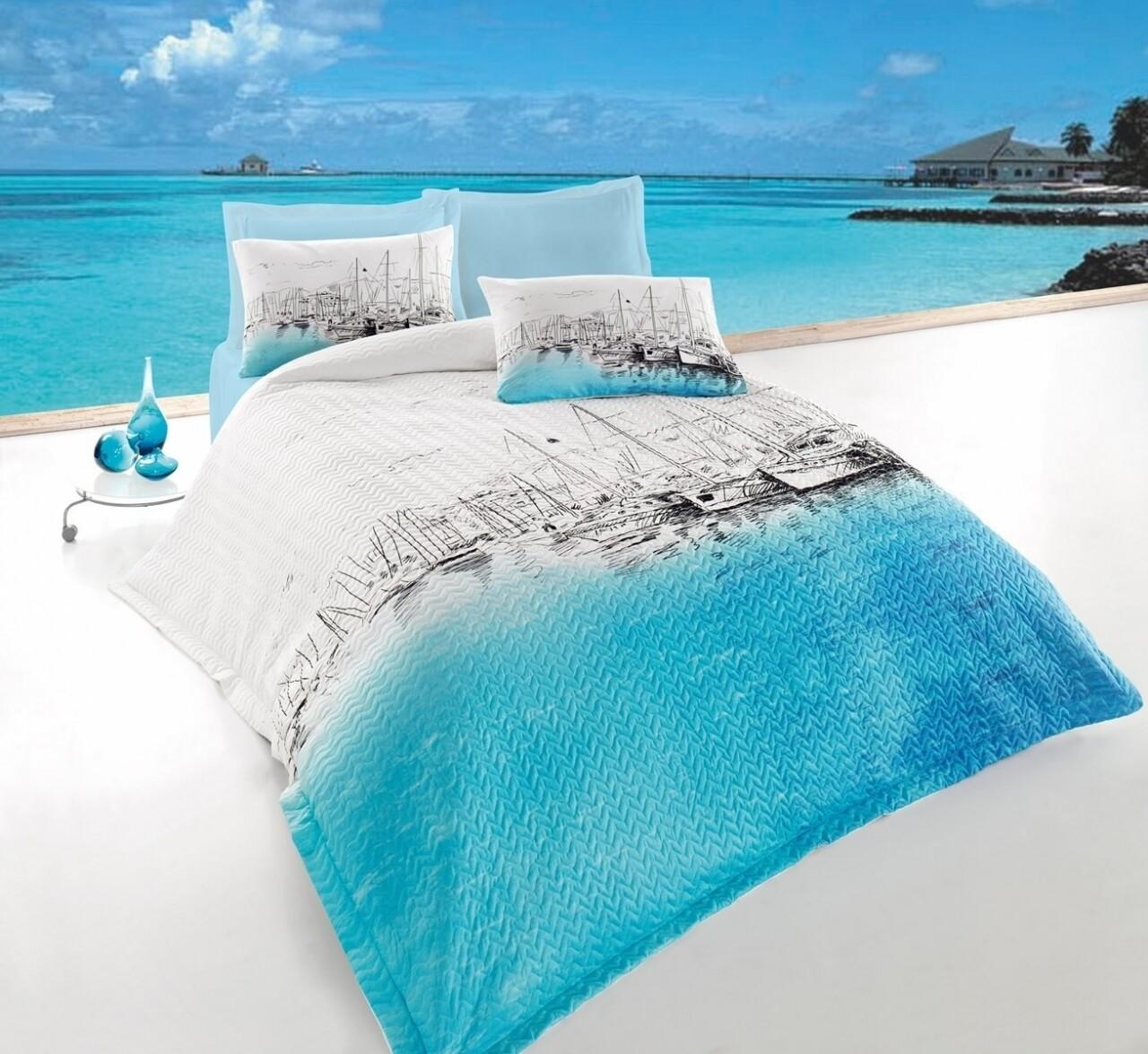 Lenjerie de pat matlasata pentru o persoana, 3 piese, 100% bumbac ranforce, Cotton Box, Marina Blue