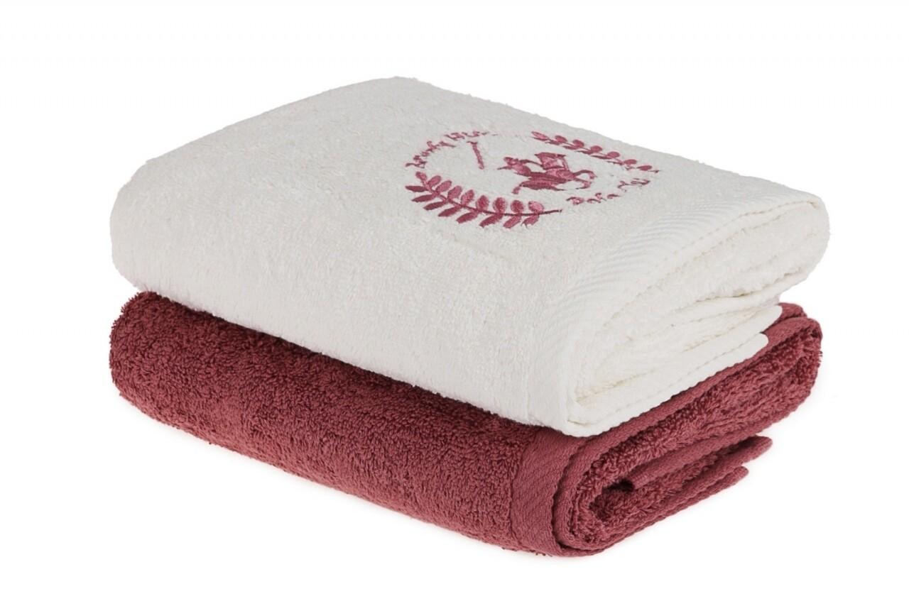 Set 2 prosoape de maini, Beverly Hills Polo Club, 50x90 cm, 100% bumbac, crem/roz inchis