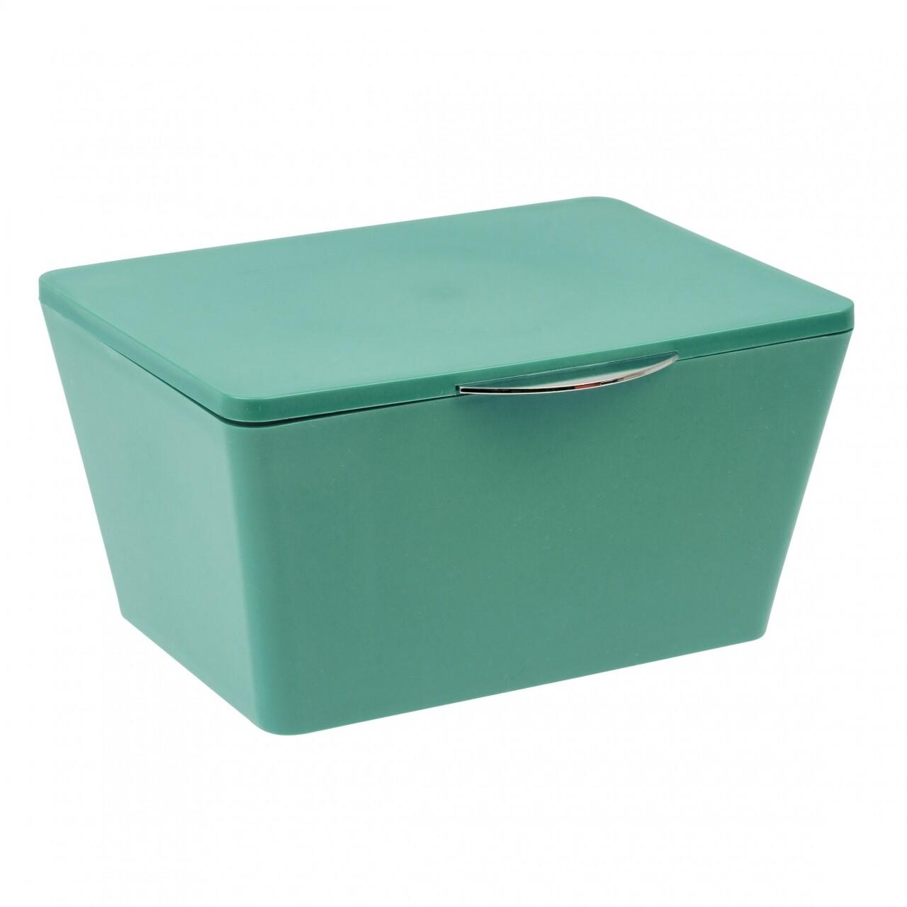 Cutie depozitare cu capac pentru baie, Wenko Brasil, green