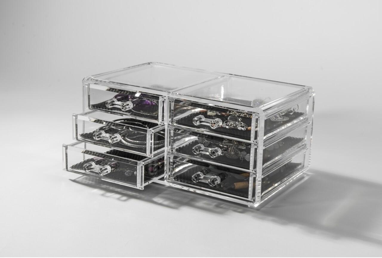 Organizator pentru bijuterii Compactor, 6 sertare, polistiren, transparent