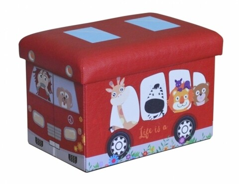 Taburet pliabil cu spatiu de depozitare Red Bus, Heinner Home, 24.5 x 25 x 38 cm, PVC, rosu