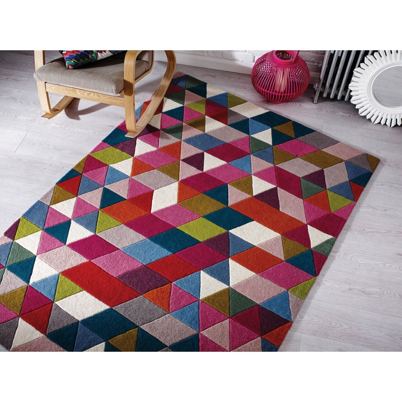 Covor Illusion Prism Pink/Multi, Flair Rugs, 160 x 220 cm, 100% lana, multicolor