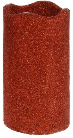 Lumanare Glitter cu LED, 7 x 13 cm, parafina, rosu
