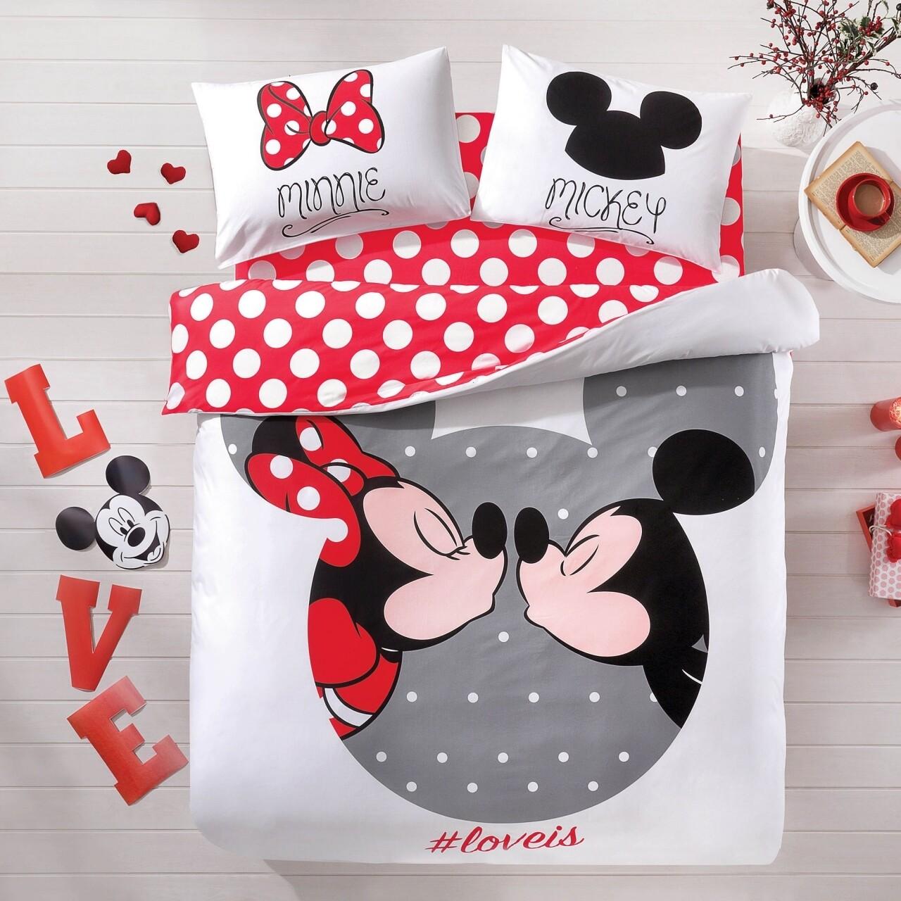 Lenjerie de pat double Mickey&Minnie Loveis