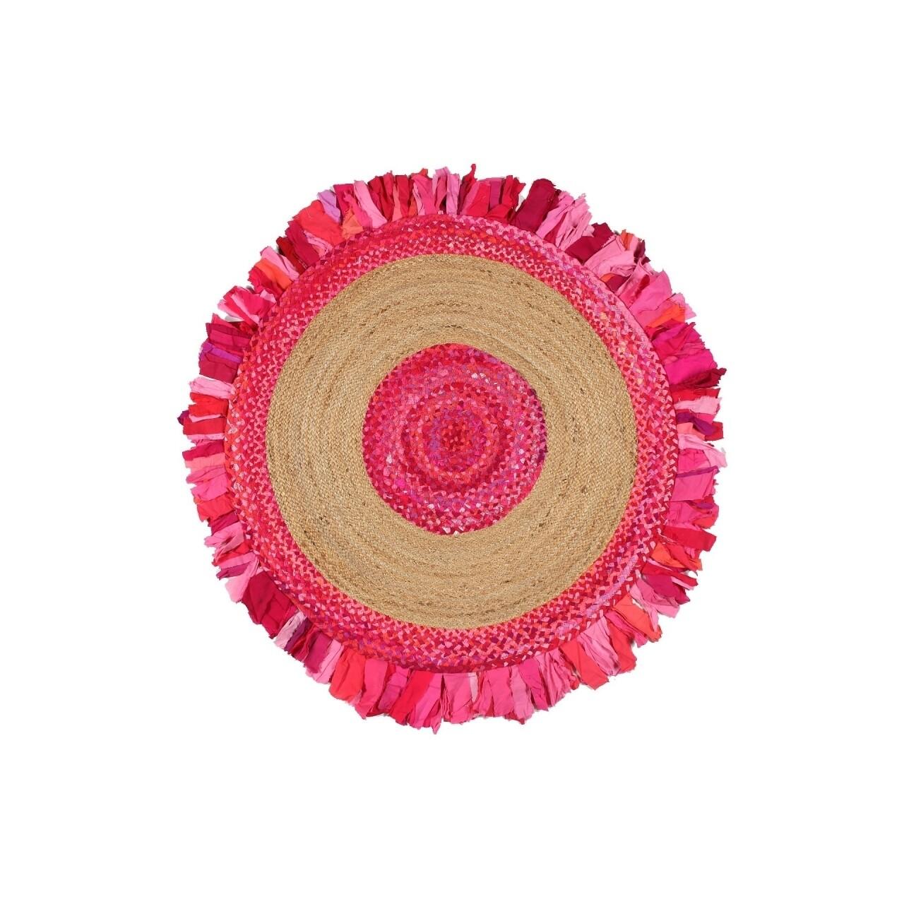 Covor lucrat manual Eko, MX 05 - Pink Q, 50% iuta, 50% bumbac,  150 cm Ø