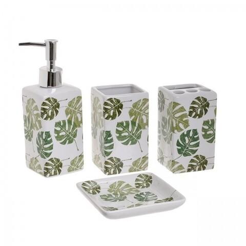 Set de baie Green Leaves, InArt, 4 piese, ceramica, alb/verde
