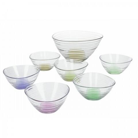 Set 7 boluri din sticlă pentru fructe și salate, Tognana, Multicolor
