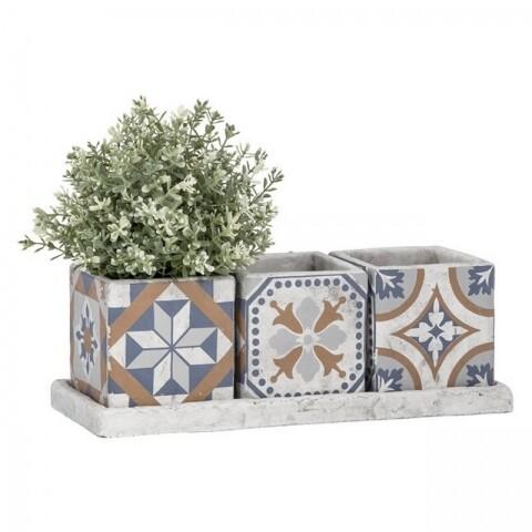 Set 3 ghivece si suport Portuguese, Esschert Design, 36.1 x 13.3 x 12.6 cm, beton, multicolor