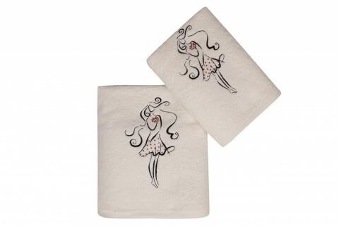 Set 2 prosoape Baskili İkili Takim Tasli Kalpli Kız, Saheser, 50 x 90 cm/70 x 140 cm, 100% bumbac, alb