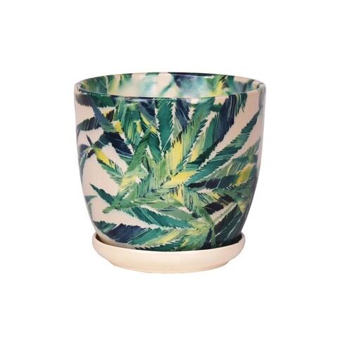 Ghiveci cu farfurie Wenus, Feriga, ceramica, 15 cm, crem/verde