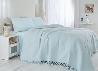 Cuvertura de pat dubla, Saheser, Light Blue, 220x240 cm, 100% bumbac, 340 gr/m², bleu