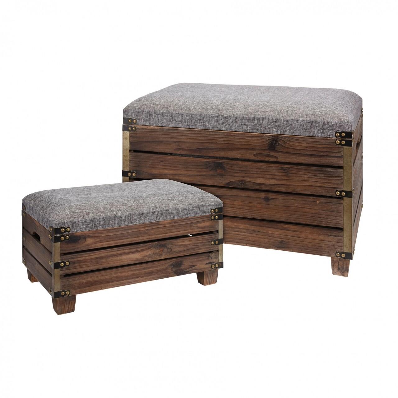 Set 2 taburete cu spatiu de depozitare, lemn