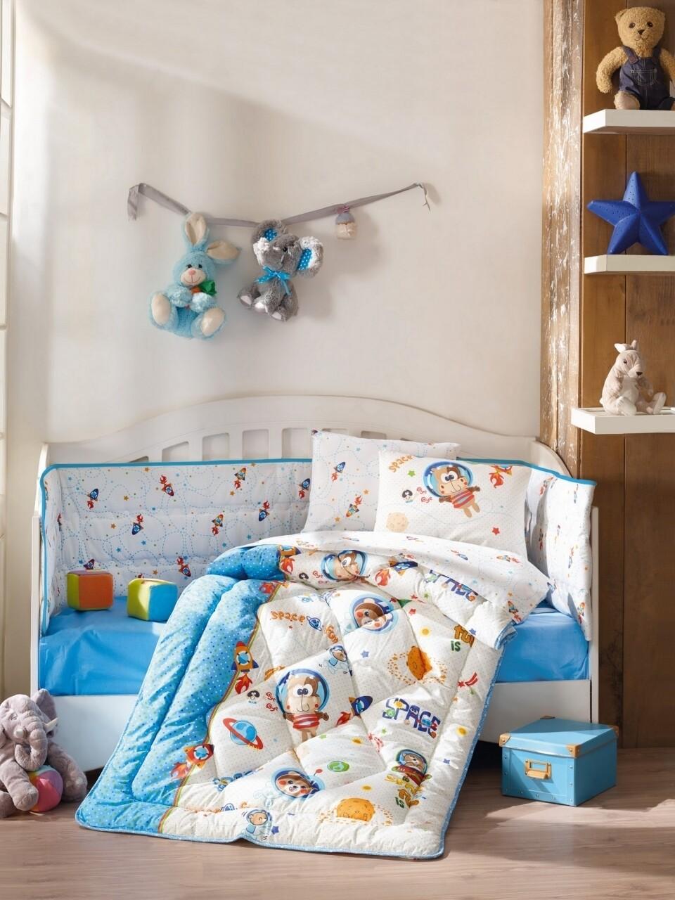 Set de pat pentru copii, 6 piese, 100% bumbac ranforce, Cotton Box, Uzay Oyunu