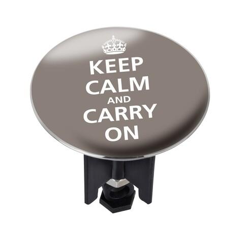 Dop pentru cada/chiuveta, Wenko, Pluggy XL Keep Calm, 6.2 cm Ø x 6.6 cm, plastic