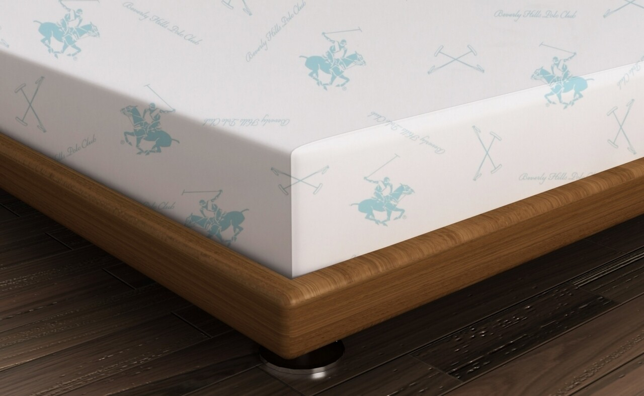 Cearceaf de pat pentru o persoana, 180x240 cm, 100% bumbac ranforce, Beverly Hills Polo Club, alb/turcoaz