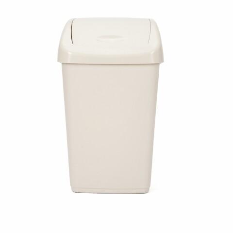 Cos de gunoi cu capac batant Kara Beige, 50L, Heinner, plastic, bej