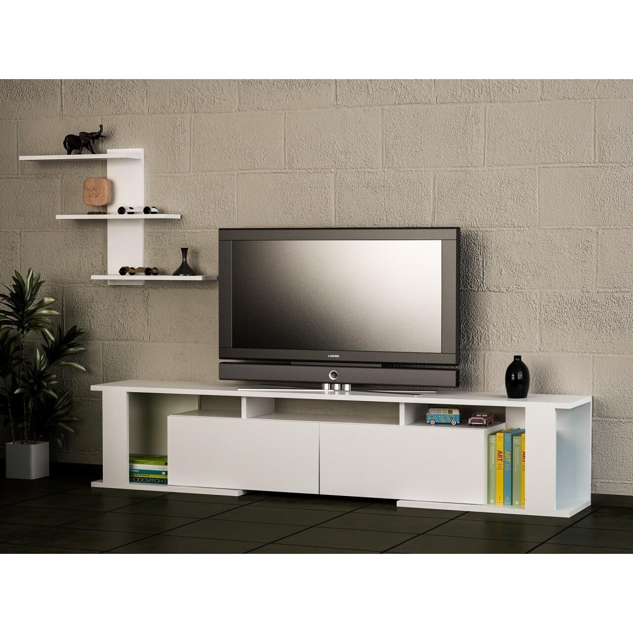 Comoda TV cu raft, Wooden Art, Game White, 180x29.6x36.8 cm