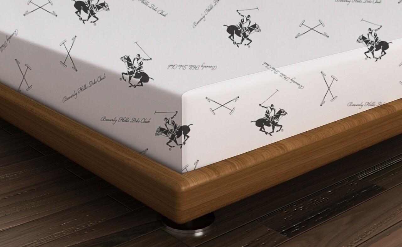 Cearceaf de pat dublu, 240x260 cm, 100% bumbac ranforce, Beverly Hills Polo Club, Alb/Negru
