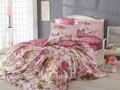 Lenjerie de pat dubla, 6 piese, 240x260 cm, 100% bumbac satinat, Hobby, Rosanna, roz